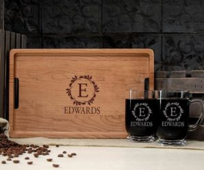 Personalized Serving Tray And Coffee Mug Sets