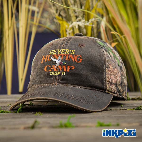 Duck Hunting Camp Custom Hats are embroidered, two-tone camo with a weathered cotton twill front panel. They have a love crown and unstructured for a comfortable fit.