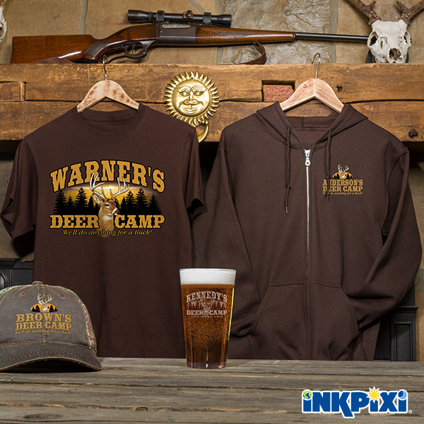 Deer Camp Personalized Shirts, Hats, pints, and more