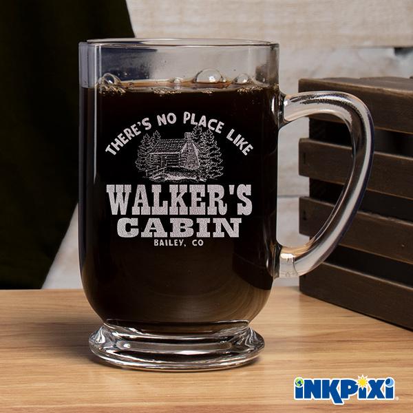 custom coffee mugs in our popular Cabin design