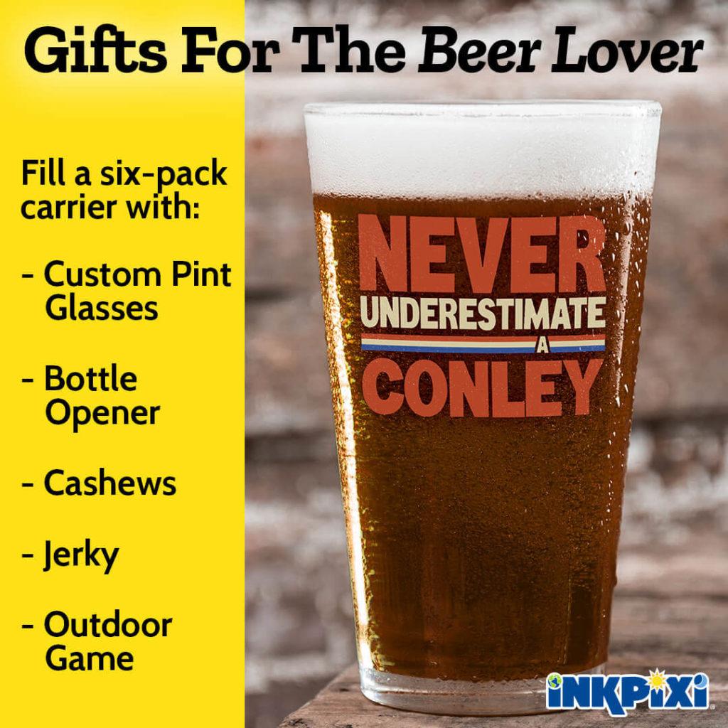 Custom pint glasses just for beer lovers.