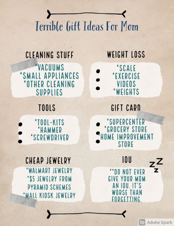 Terrible Gifts for Mother's Day - Here is a list of gift-giving ideas for your mom that are just plain terribly.